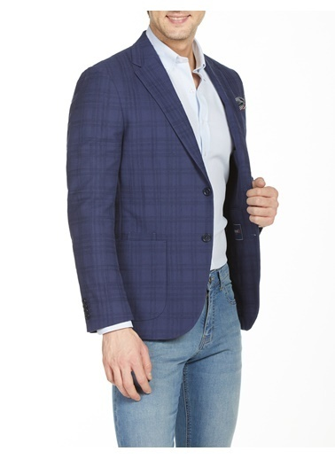 Bisse BCK19Y19301 Slim Fit 6 Drop Ekoseli Blazer Ceket Lacivert
